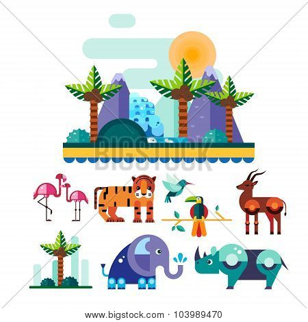 Jungle and Tropic Animals, Birds Vector Illustration Set