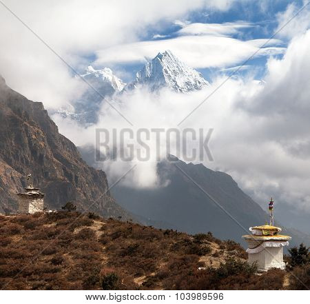 Kangtega And Thamserku Near Namche Bazar With Stupas