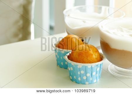 Lemon Cup Cake And Chocolate Mousse