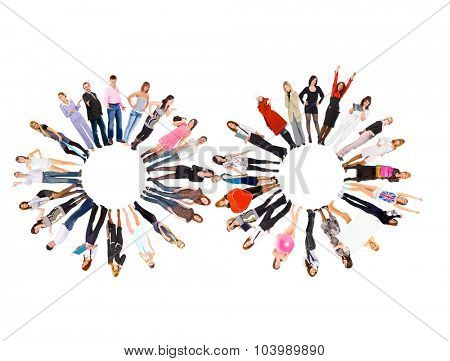 Many Colleagues Team over White