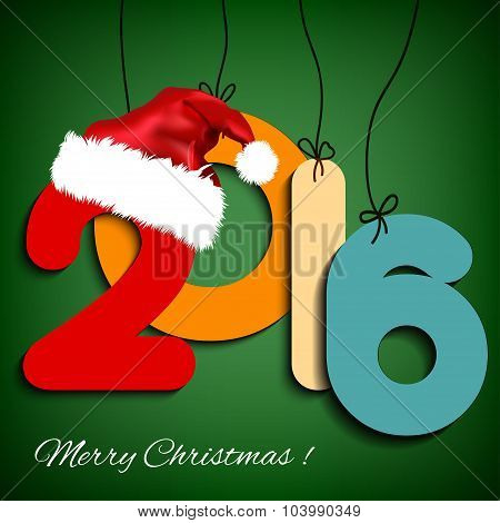 Happy New Year background 2016 with Christmas hat. Vector illustration.