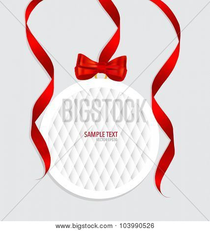 Cards with red gift bows and red ribbons. Vector illustration.