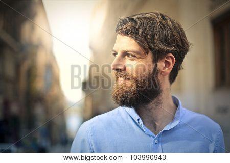 Handsome long-bearded man