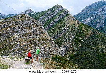 Tourists Admire View Of Mountains In Surroundings Of Town Bar, Montenegro