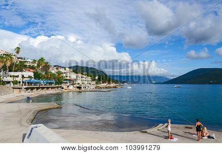 Beaches On The Waterfront In Herceg Novi, Montenegro