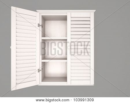 3D Illustration Of Half Open, Empty, White Cabinet
