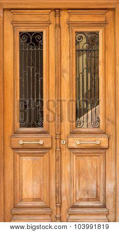 Close-up View Of Antique Wooden Door.