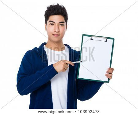 Asian man pen point to clipboard