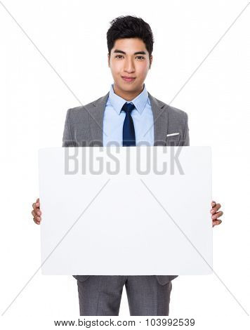 Businessman show with white board