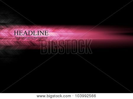 Dark pink glowing abstract tech background. Vector illustration