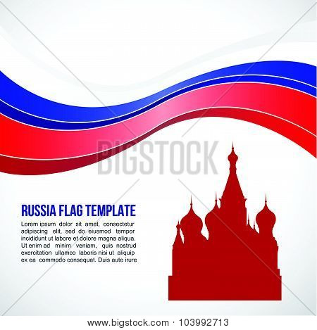 Russia flag wave and Saint Basil's Cathedral symbols