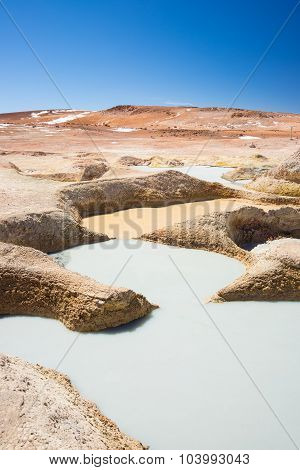 Colorful Hot Water Ponds On The Andes, Bolivia