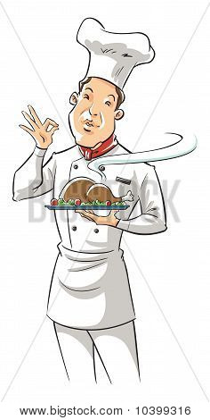 chef holding delicious dish