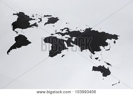 World map.Cut out paper