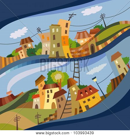Cartoon vector flat style city