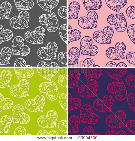 Set Of Seamless Backgrounds With Hearts Pattern