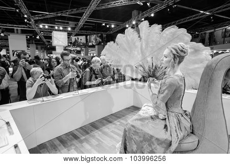 COLOGNE, GERMANY - SEPTEMBER 19, 2014: Sony stand in the Photokina Exhibition. The Photokina is the world's largest trade fair for the photographic and imaging industries
