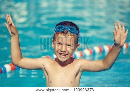 Happy Little Boy Enjoy Summer Holiday In Pool Vintage