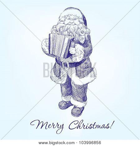 Santa Claus hand drawn vector llustration realistic sketch