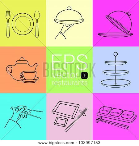set outline, planimetric, contour, planimetric line of vector icons on the theme of the restaurants,