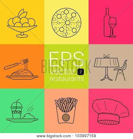 set outline, planimetric, contour, planimetric line of vector icons on the theme of the restaurants,