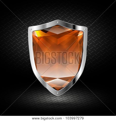 Brown Crystal Shield In Chrome