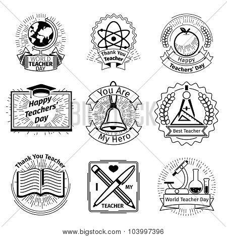 Teachers day emblems set. School and education logos