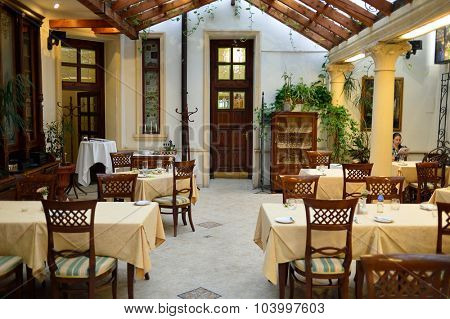 PRAGUE, CZECH REPUBLIC - AUGUST 17, 2015: luxury restaurant interior in Prague. Prague is the capital and largest city of the Czech Republic. It is the 15th largest city in the European Union.