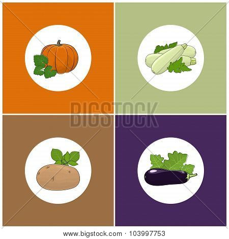 Set of Four Icons of Vegetables