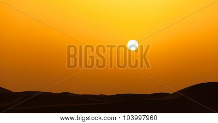 Sunset in Dubai desert