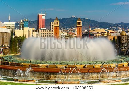 Magic Fountain of Montjuic in Barcelona, Spain