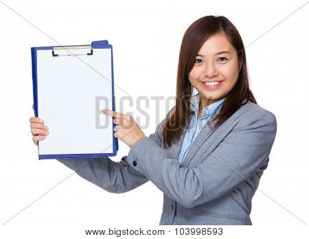 Asian businesswoman show with the blank paper of clipboard