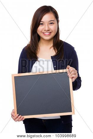 Woman hold with chalkboard