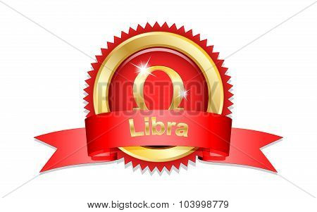 Libra Sign With Red Ribbon