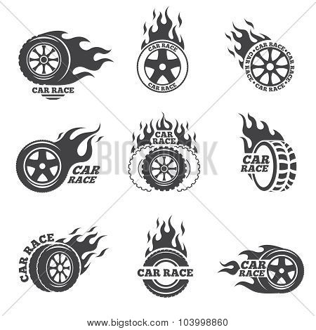 Car race logo set. Wheel with fire flame