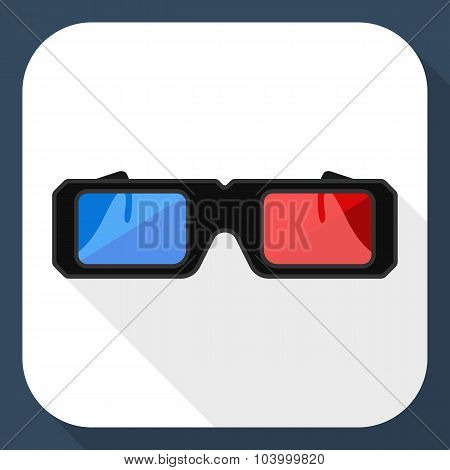 3D Glasses Flat Icon With Long Shadow