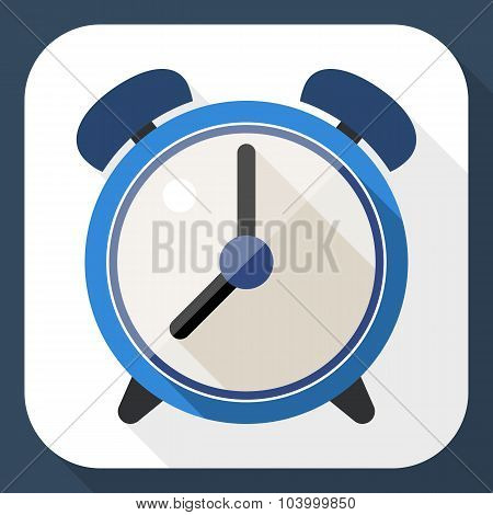 Alarm Clock Flat Icon With Long Shadow