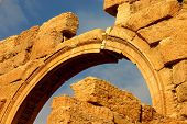 picture of euphrat  - arch of historic temple at ancient palmyra in syria - JPG