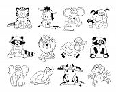 Постер, плакат: Cartoon animals outlines