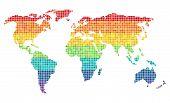 Постер, плакат: Pixel Wold Map Horizontal Rainbown