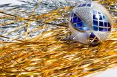 pic of tawdry  - blue and white chrismas ball and shiny spangle - JPG