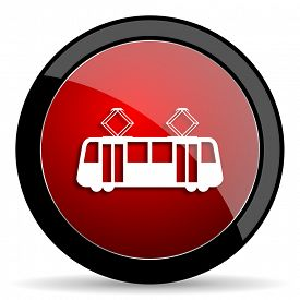 pic of tram  - tram red circle glossy web icon on white background - JPG