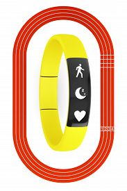 picture of olympiade  - Fitness Tracker and Running Track on a white background - JPG