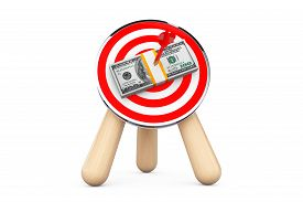 stock photo of archery  - Dollar Banknotes in Center of Archery Target on a white background - JPG