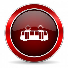 picture of tram  - tram red circle glossy web icon - JPG