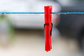 stock photo of clotheslines  - Red clothes peg on clothesline with rain drops.