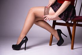 picture of stocking-foot  - Nude female legs - JPG
