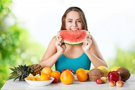 picture of finger-licking  - Eating Watermelon Licking Human Finger Blueberry Teenage Girls Fruit Healthy Eating - JPG