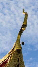 image of apex  - Gable Apex With Sky In Thai Temple  - JPG