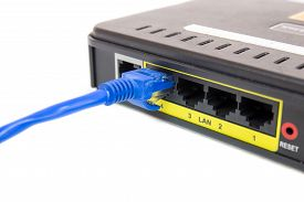 stock photo of cat5  - Close up LAN UTP RJ45 Cat5e connect to ADSL Router network switch